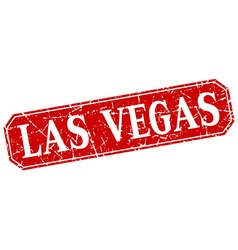 Las Vegas red square grunge retro style sign vector image