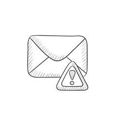 Envelope mail with warning signal sketch icon vector