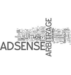 Adsense arbitrage for money text word cloud vector