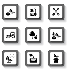 agriculture buttons set vector image vector image