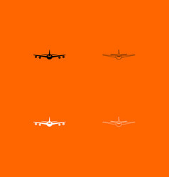 airplane black and white set icon vector image