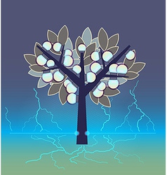 Artificial tree fruiting electrical bulbs plugged vector image