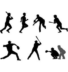 Baseball silhouettes set 7 vector