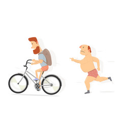 bicycle bearded guy character funny man vector image