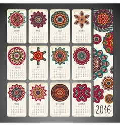 Calendar with mandalas vector image