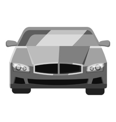Car front view icon gray monochrome style vector