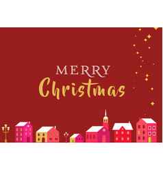 christmas greeting card with winter village and l vector image vector image