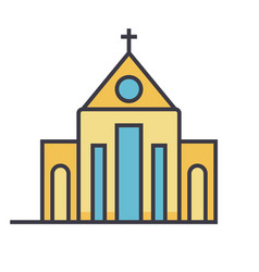 church flat line concept vector image vector image