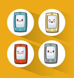 Collection kawaii cellphone cute vector