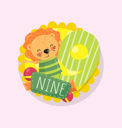 colorful children s educational card with little vector image
