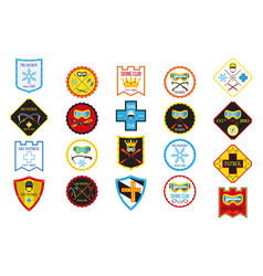 colorful set of ski logos ski patrol rental skiing vector image