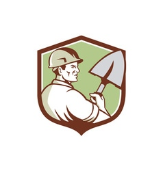 Construction worker spade crest retro vector