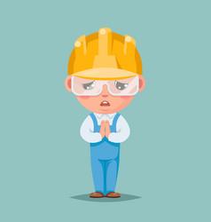 Convince agree pray ask cute builder engeneer vector