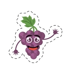 Cute grape raising character fruit cut line vector
