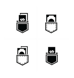 Dollar bills in jeans pocket icon design vector