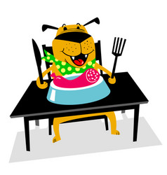 eating dog a cheerful dog sits at a table and vector image vector image