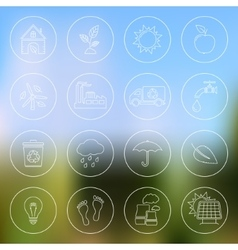 Ecology icons on blurred background vector image