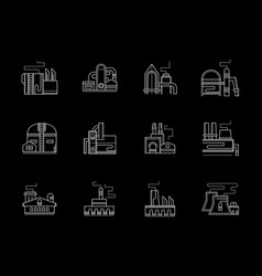 Factory buildings flat white line icons set vector