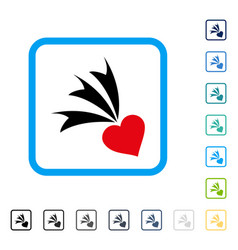 Falling heart framed icon vector