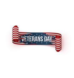 happy veterans day scroll ribbon vector image