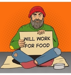 Homeless man with paper sign pop art vector image vector image