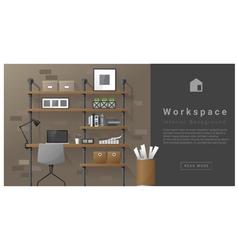 Interior design Modern workspace background 7 vector image
