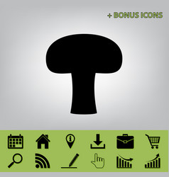 Mushroom simple sign black icon at gray vector