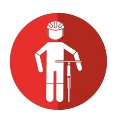 Professional racing cyclist uniform helmet bicycle vector