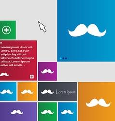 Retro moustache icon sign buttons modern interface vector