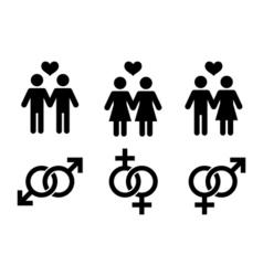 Same-sex couples flat icon vector