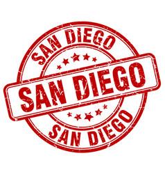 San diego red grunge round vintage rubber stamp vector