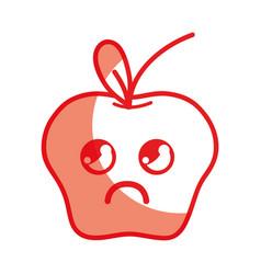 Silhouette kawaii cute sad apple fruit vector