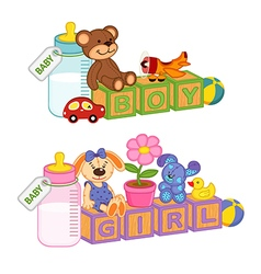 Toys and accessories for baby with blocks vector