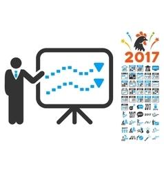 Trends presentation icon with 2017 year bonus vector