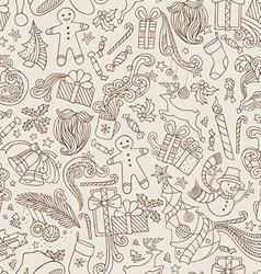 Vintage seamless doodles christmas pattern vector