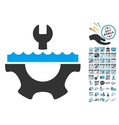 Water service gear icon with 2017 year bonus vector