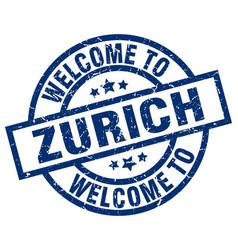 Welcome to zurich blue stamp vector