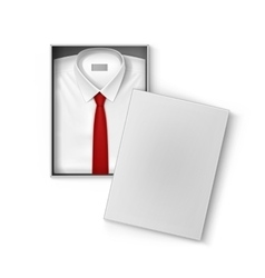 White classic men shirt with red tie in box vector image vector image