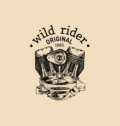 Wild rider vintage motorcycle logo biker vector