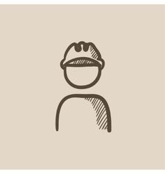Worker wearing hard hat sketch icon vector