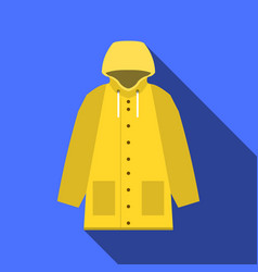 Yellow vintage raincoat icon in flat design with vector