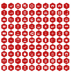 100 loader icons hexagon red vector