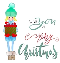 Girl holding a gift box with handwritten vector