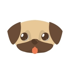 Cute doggy brown tongue out vector