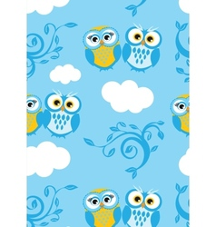 Two cute owls on the tree branch decoration vector