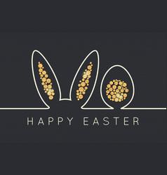 Easter bunny line golden egg design background vector