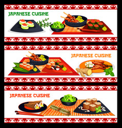 Japanese cuisine sushi and seafood menu banner set vector