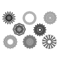 Circle vignette lace ornaments set vector
