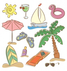 Beach vacation icon set vector