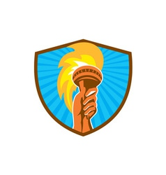 Hand holding burning flaming torch shield retro vector
